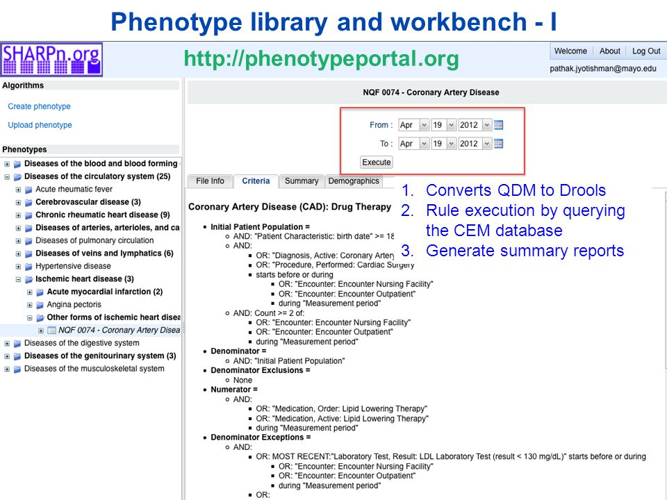 ©2012 MFMER | slide-13 Phenotype library and workbench - I 1.Converts QDM to Drools 2.Rule execution by querying the CEM database 3.Generate summary reports http://phenotypeportal.org
