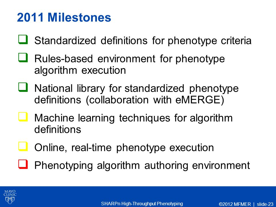 SHARPn High-Throughput Phenotyping 2011 Milestones  Standardized definitions for phenotype criteria  Rules-based environment for phenotype algorithm execution  National library for standardized phenotype definitions (collaboration with eMERGE)  Machine learning techniques for algorithm definitions  Online, real-time phenotype execution  Phenotyping algorithm authoring environment ©2012 MFMER | slide-23