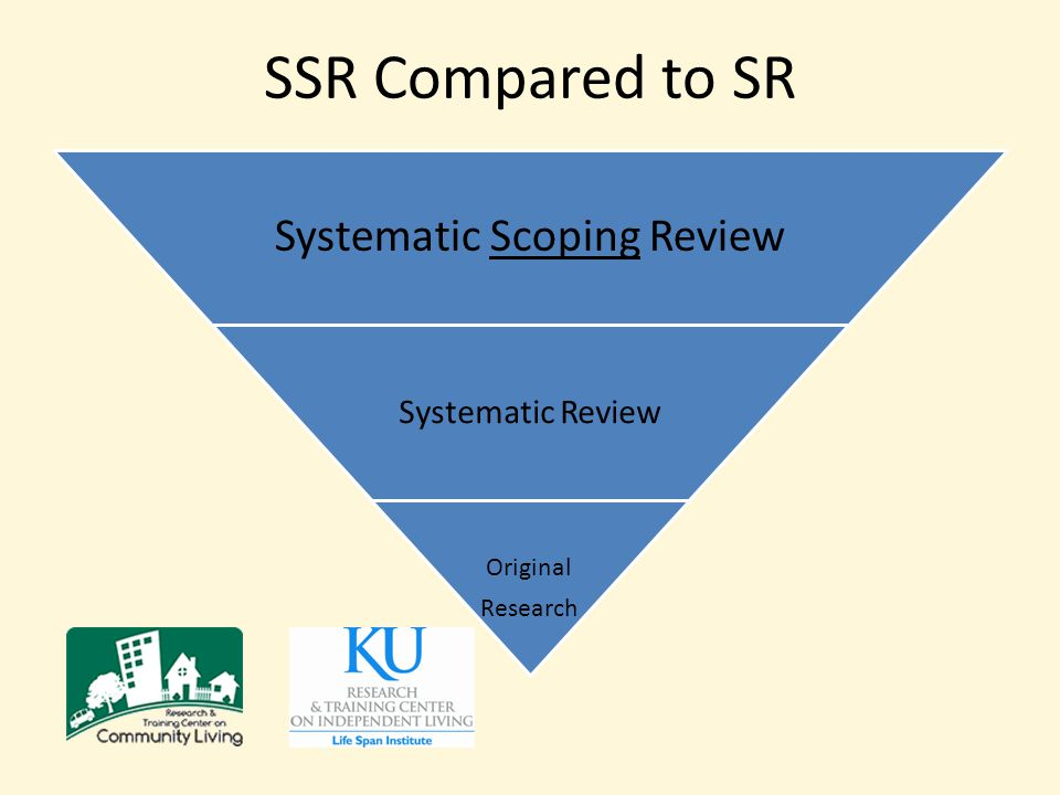 SSR Compared to SR Systematic Scoping Review Systematic Review Original Research