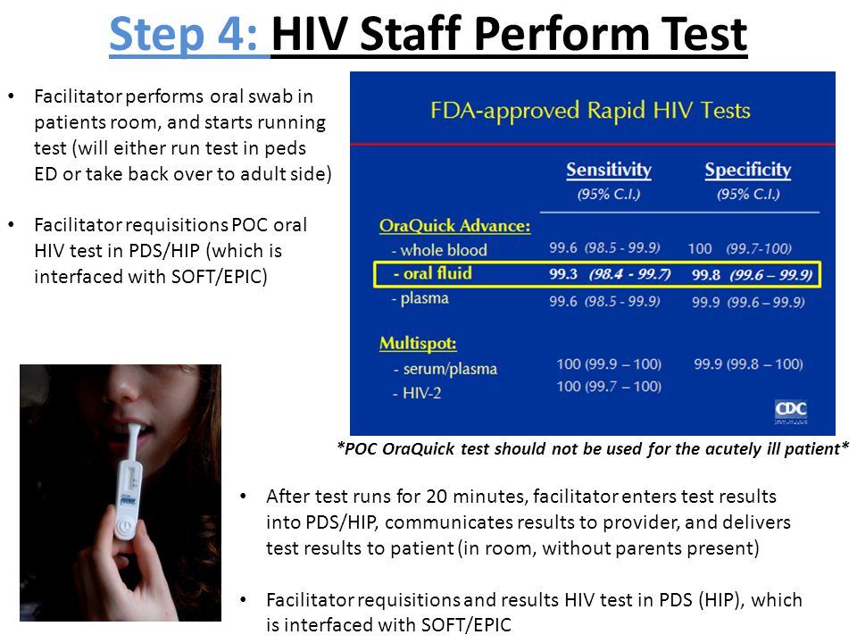 Facilitator performs oral swab in patients room, and starts running test (will either run test in peds ED or take back over to adult side) Facilitator
