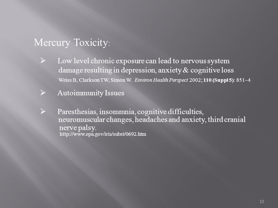 10 Mercury Toxicity :  Low level chronic exposure can lead to nervous system damage resulting in depression, anxiety & cognitive loss Weiss B, Clarks