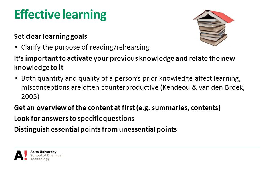 Effective learning Set clear learning goals Clarify the purpose of reading/rehearsing It's important to activate your previous knowledge and relate th