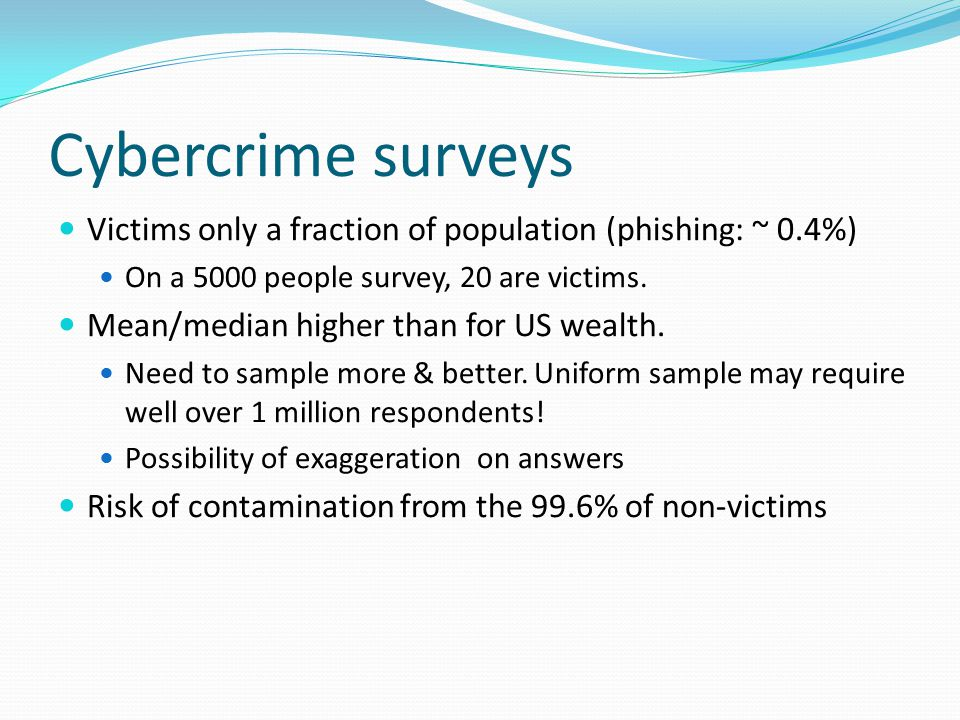 Cybercrime surveys Victims only a fraction of population (phishing: ~ 0.4%) On a 5000 people survey, 20 are victims.