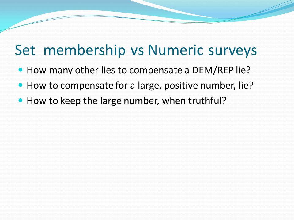 Set membership vs Numeric surveys How many other lies to compensate a DEM/REP lie.
