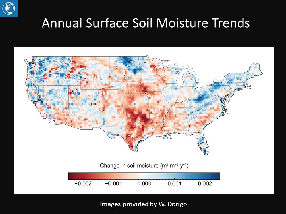 Annual Surface Soil Moisture Trends Images provided by W. Dorigo