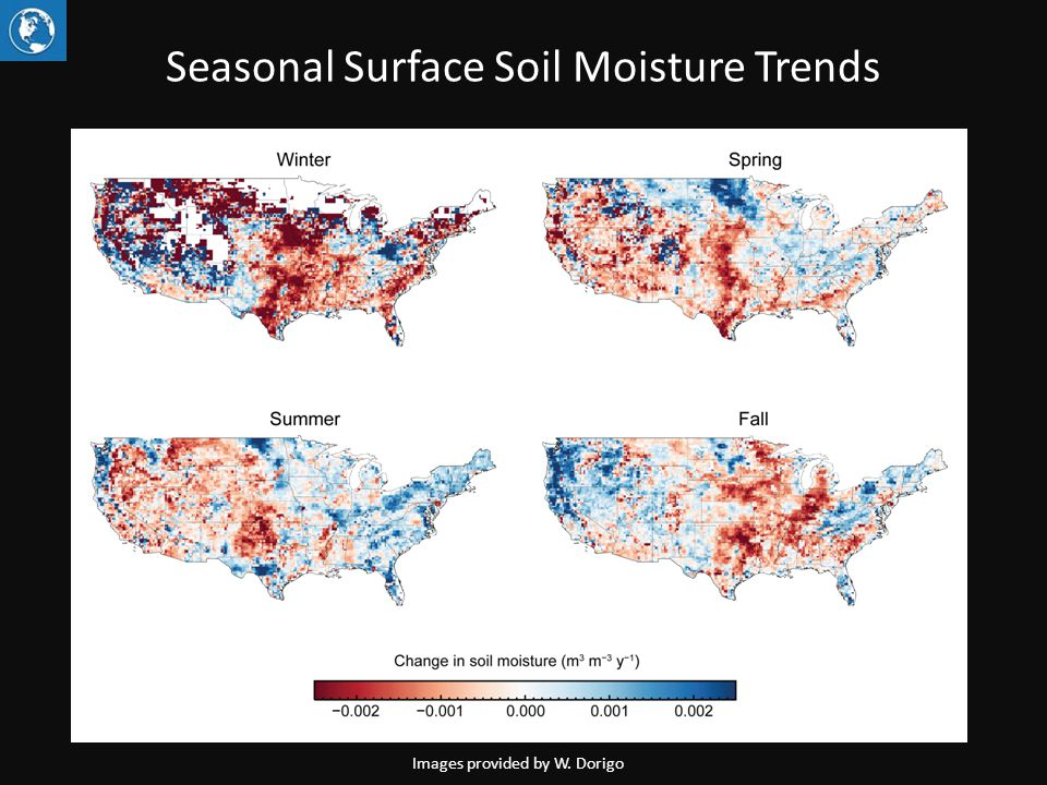 Seasonal Surface Soil Moisture Trends Images provided by W. Dorigo
