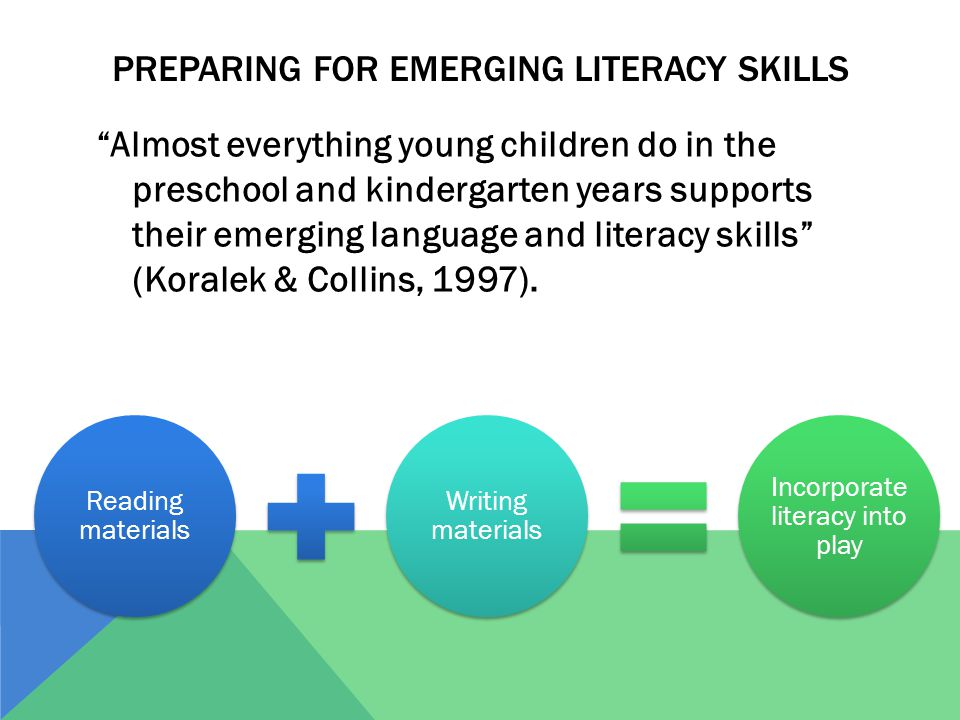"PREPARING FOR EMERGING LITERACY SKILLS ""Almost everything young children do in the preschool and kindergarten years supports their emerging language a"