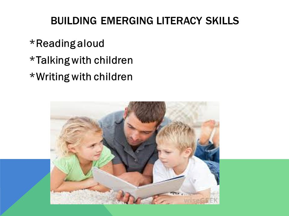 BUILDING EMERGING LITERACY SKILLS *Reading aloud *Talking with children *Writing with children
