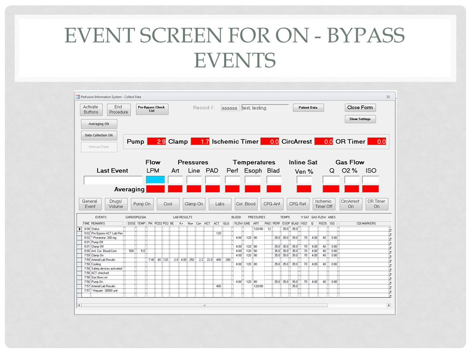 EVENT SCREEN FOR ON - BYPASS EVENTS