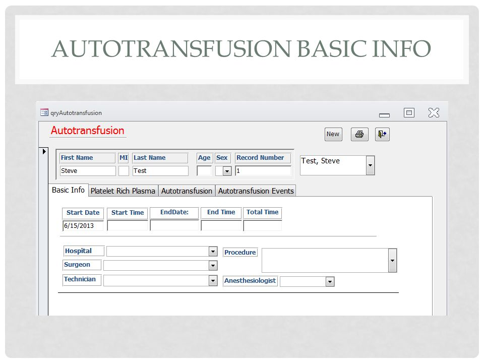 AUTOTRANSFUSION BASIC INFO