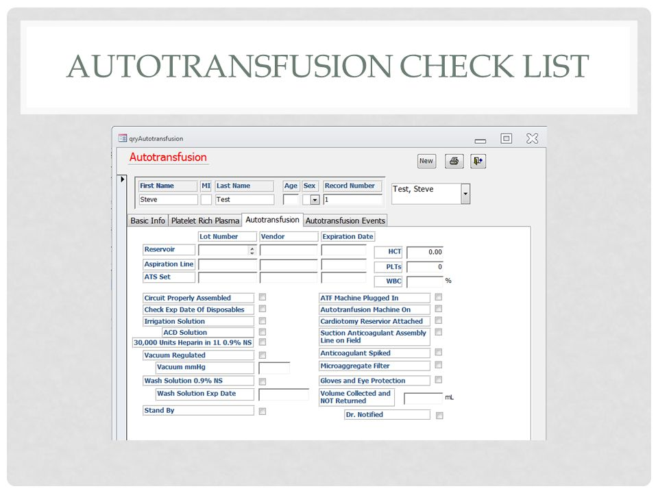 AUTOTRANSFUSION CHECK LIST