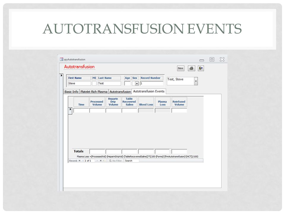 AUTOTRANSFUSION EVENTS