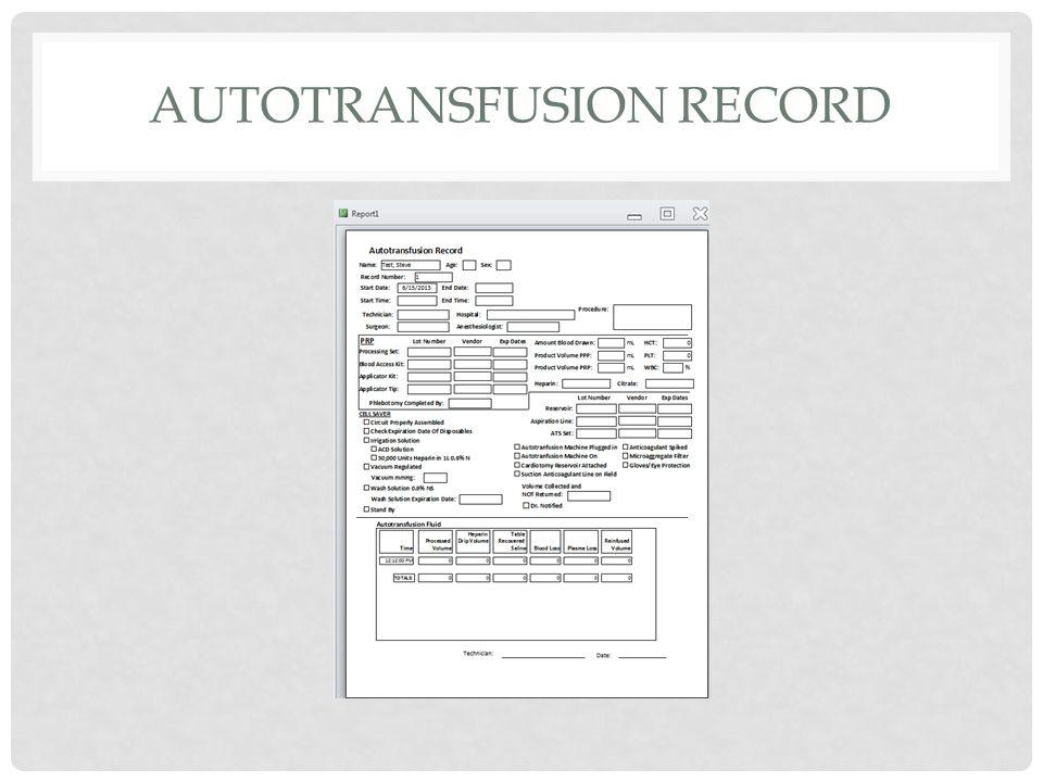 AUTOTRANSFUSION RECORD