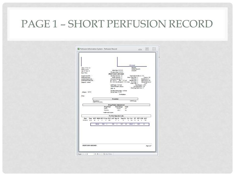PAGE 1 – SHORT PERFUSION RECORD