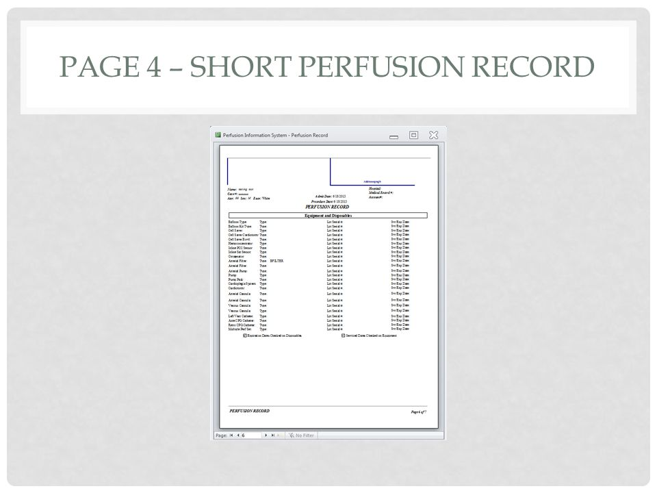 PAGE 4 – SHORT PERFUSION RECORD