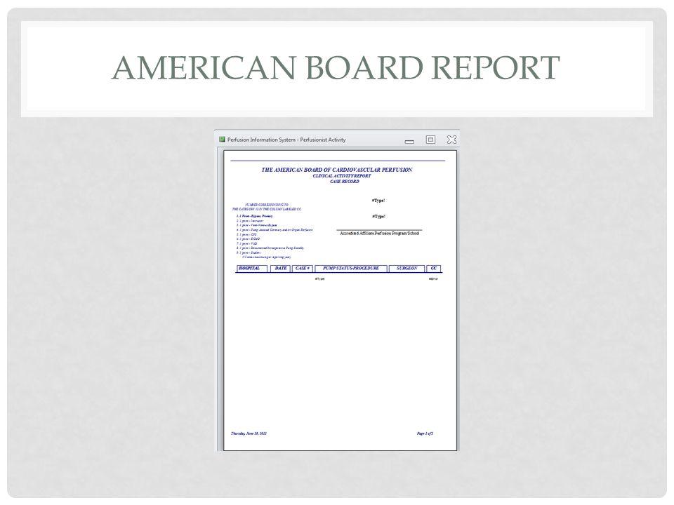 AMERICAN BOARD REPORT