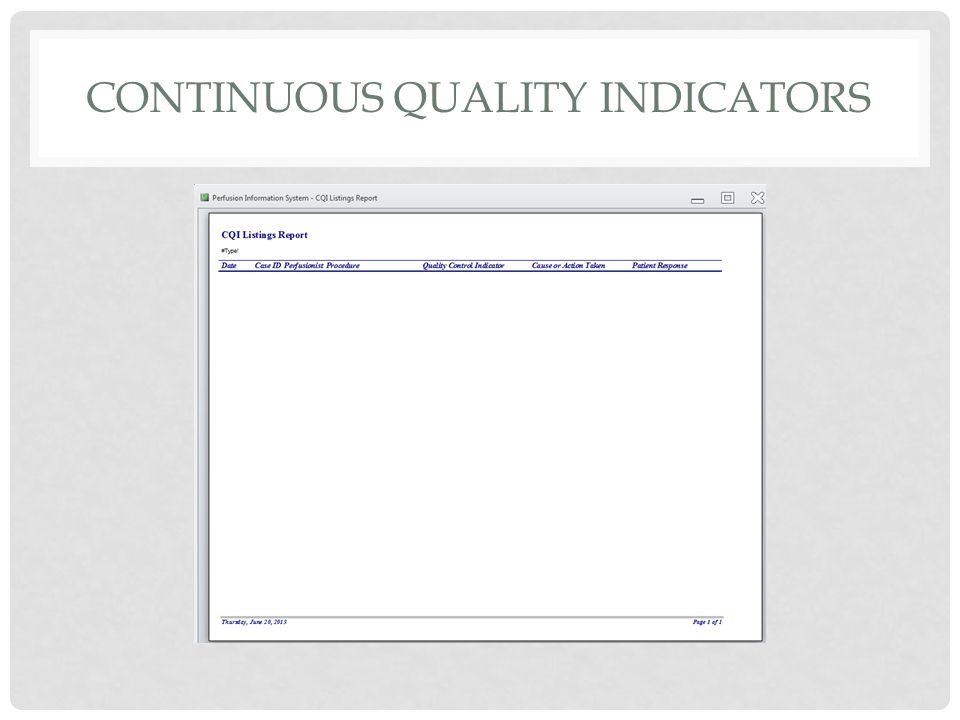 CONTINUOUS QUALITY INDICATORS