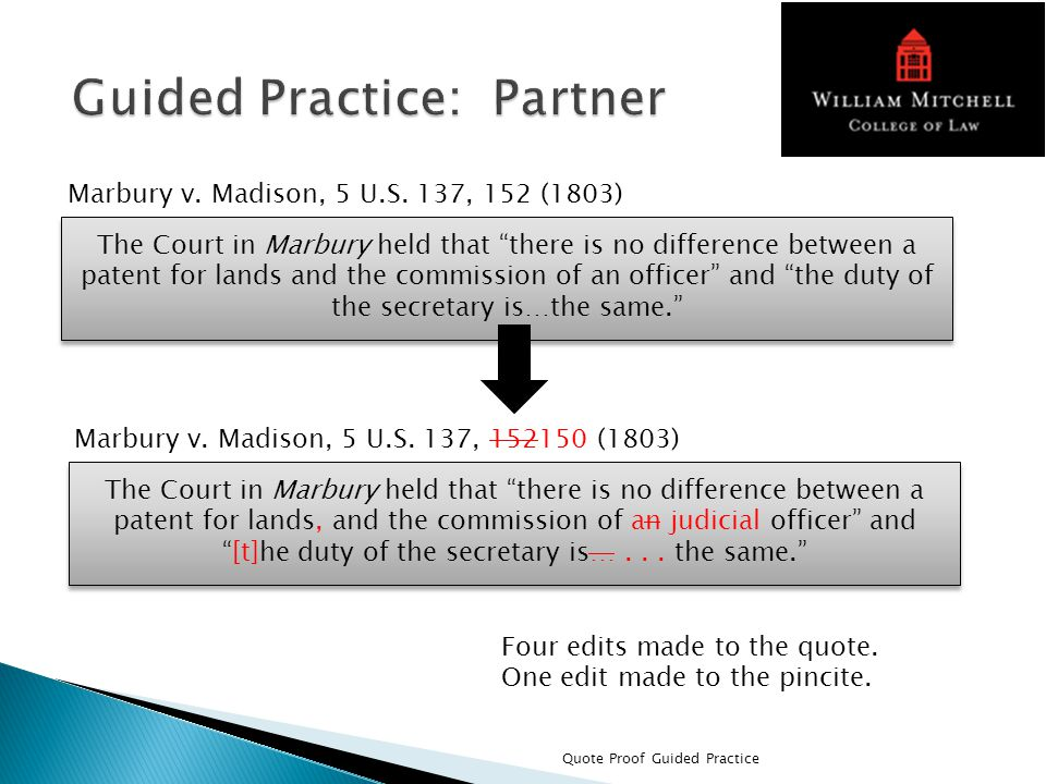 Quote Proof Guided Practice Marbury v. Madison, 5 U.S.