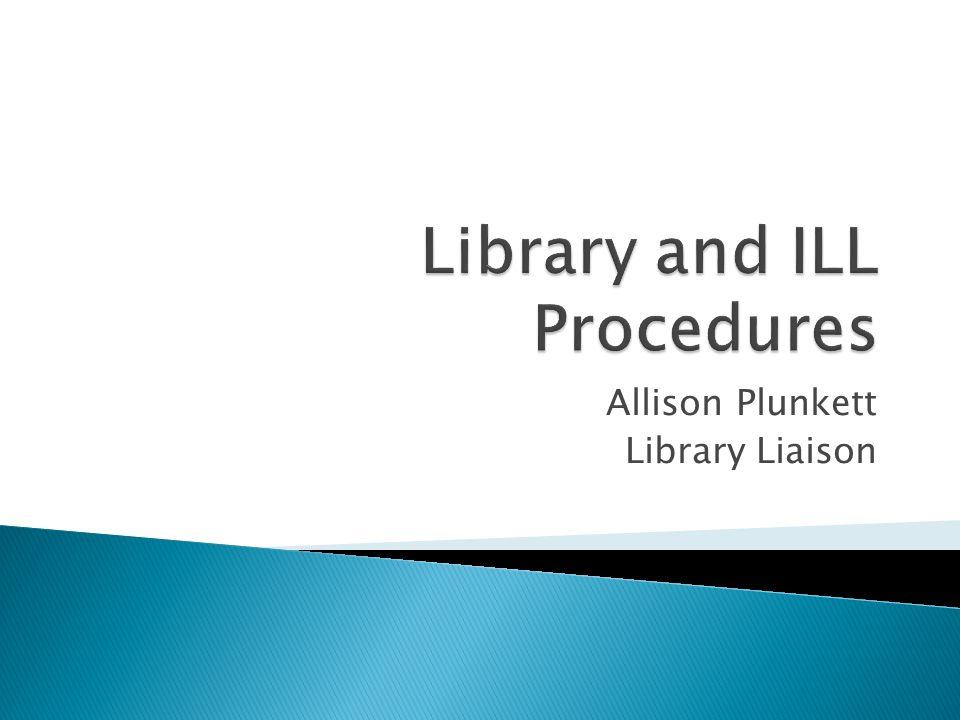 Allison Plunkett Library Liaison
