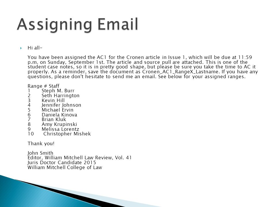  Hi all- You have been assigned the AC1 for the Cronen article in Issue 1, which will be due at 11:59 p.m.