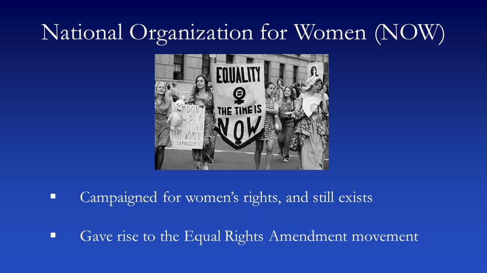 National Organization for Women (NOW)  Campaigned for women's rights, and still exists  Gave rise to the Equal Rights Amendment movement