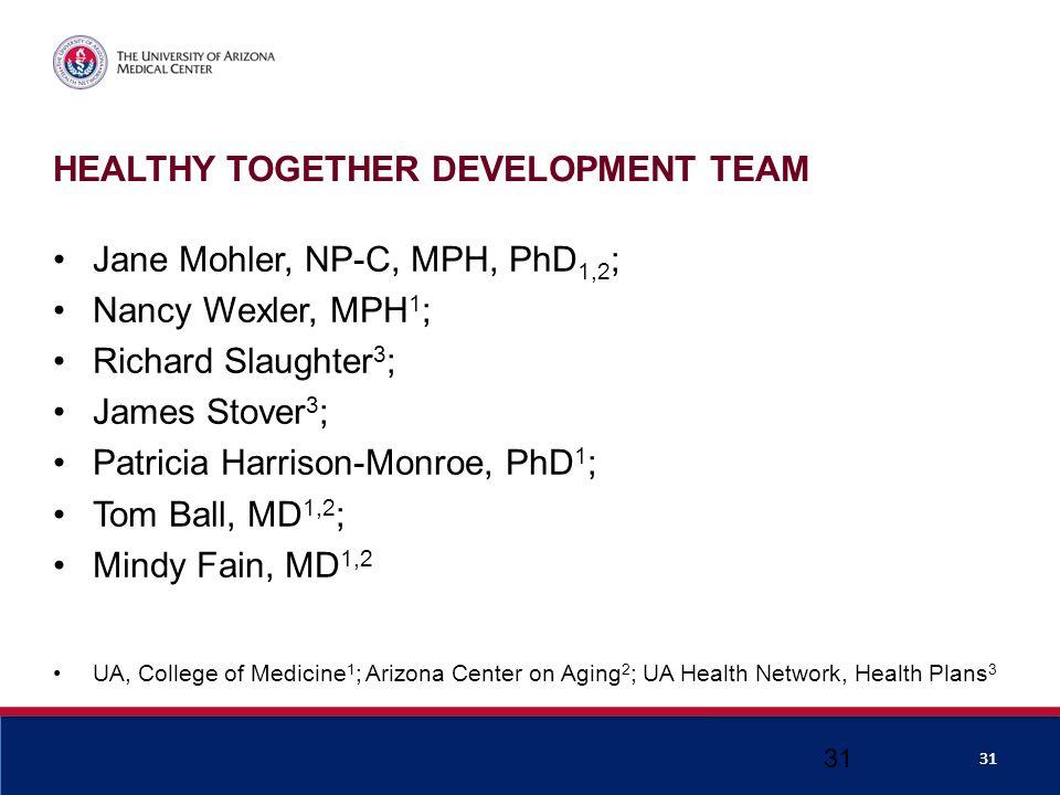 HEALTHY TOGETHER DEVELOPMENT TEAM Jane Mohler, NP-C, MPH, PhD 1,2 ; Nancy Wexler, MPH 1 ; Richard Slaughter 3 ; James Stover 3 ; Patricia Harrison-Monroe, PhD 1 ; Tom Ball, MD 1,2 ; Mindy Fain, MD 1,2 UA, College of Medicine 1 ; Arizona Center on Aging 2 ; UA Health Network, Health Plans 3 31
