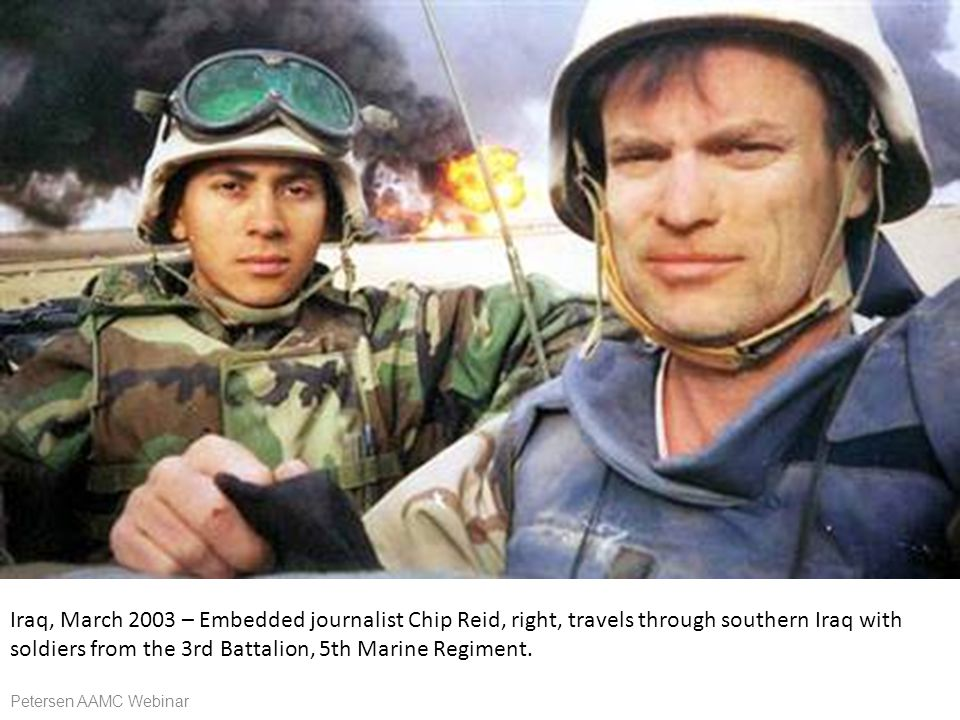 Iraq, March 2003 – Embedded journalist Chip Reid, right, travels through southern Iraq with soldiers from the 3rd Battalion, 5th Marine Regiment.