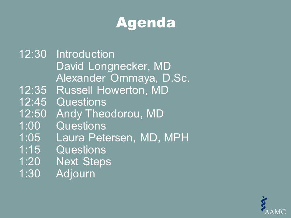Agenda 12:30 Introduction David Longnecker, MD Alexander Ommaya, D.Sc.