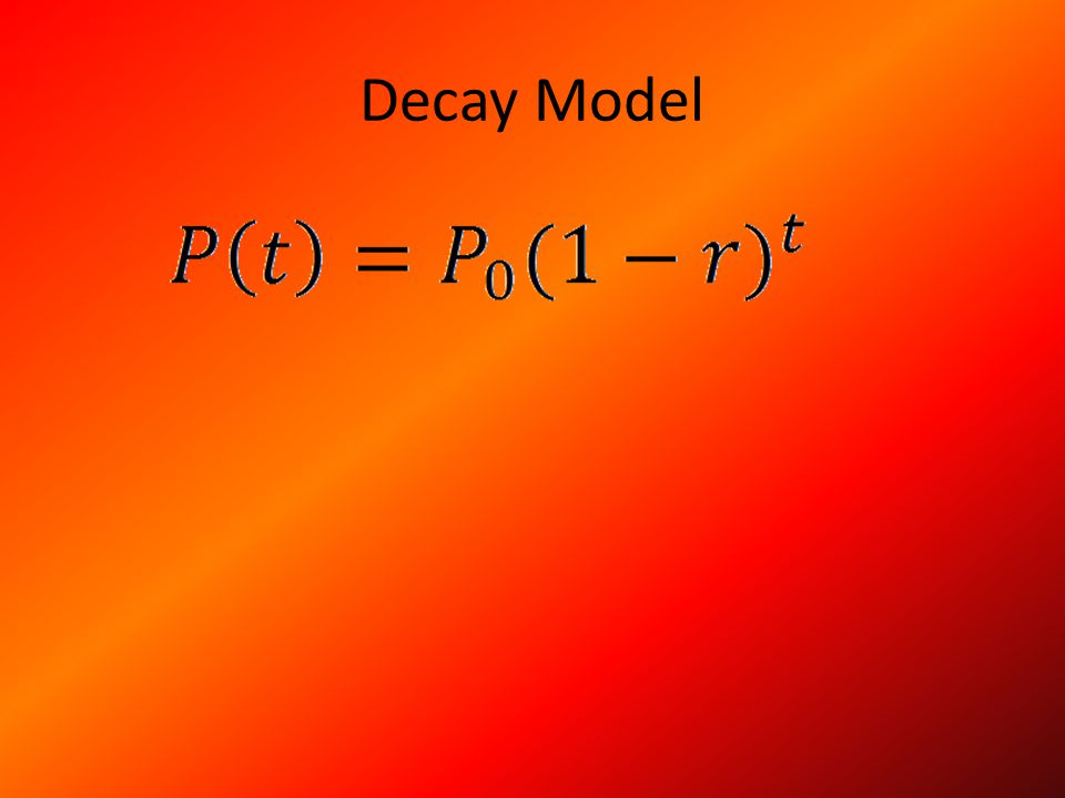 Example of The Decay Model A calm evacuation was announced throughout the city of Towncityville, AL.