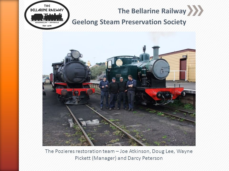 The Bellarine Railway Geelong Steam Preservation Society 1604 in as-purchased cndition prior to lifting at Rosewood The Pozieres restoration team – Joe Atkinson, Doug Lee, Wayne Pickett (Manager) and Darcy Peterson