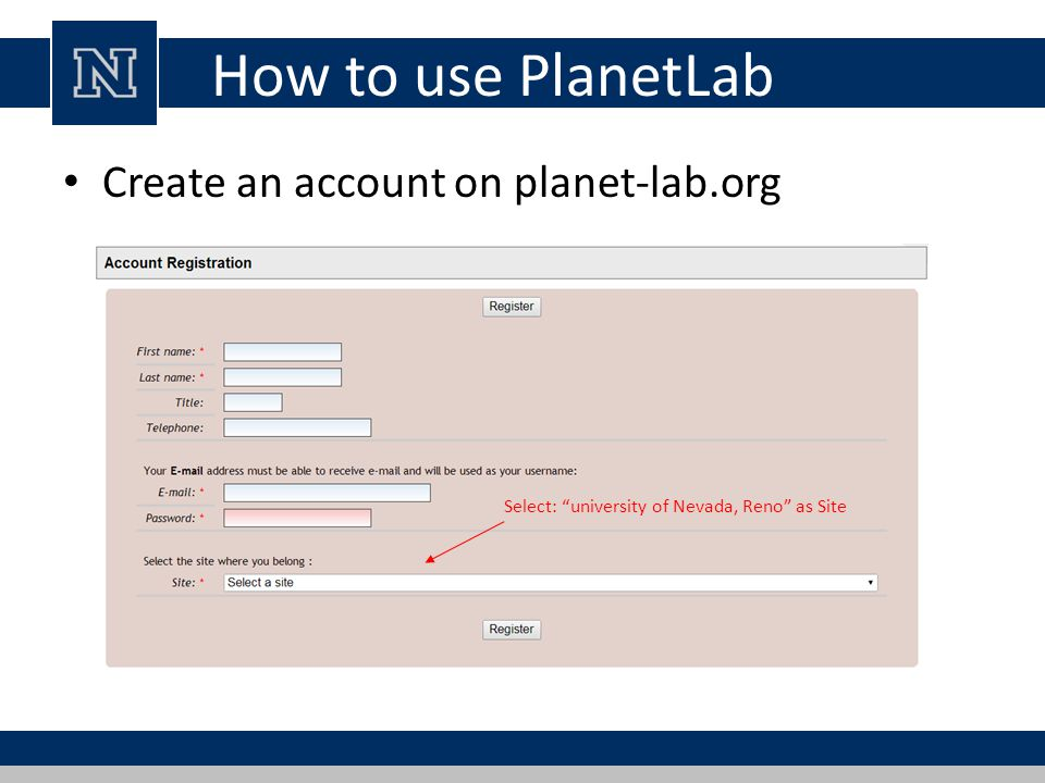 How to use PlanetLab Create an account on planet-lab.org Select: university of Nevada, Reno as Site