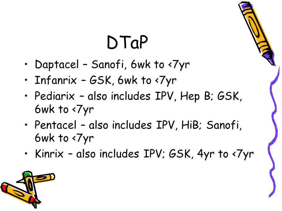 DTaP Daptacel – Sanofi, 6wk to <7yr Infanrix – GSK, 6wk to <7yr Pediarix – also includes IPV, Hep B; GSK, 6wk to <7yr Pentacel – also includes IPV, HiB; Sanofi, 6wk to <7yr Kinrix – also includes IPV; GSK, 4yr to <7yr