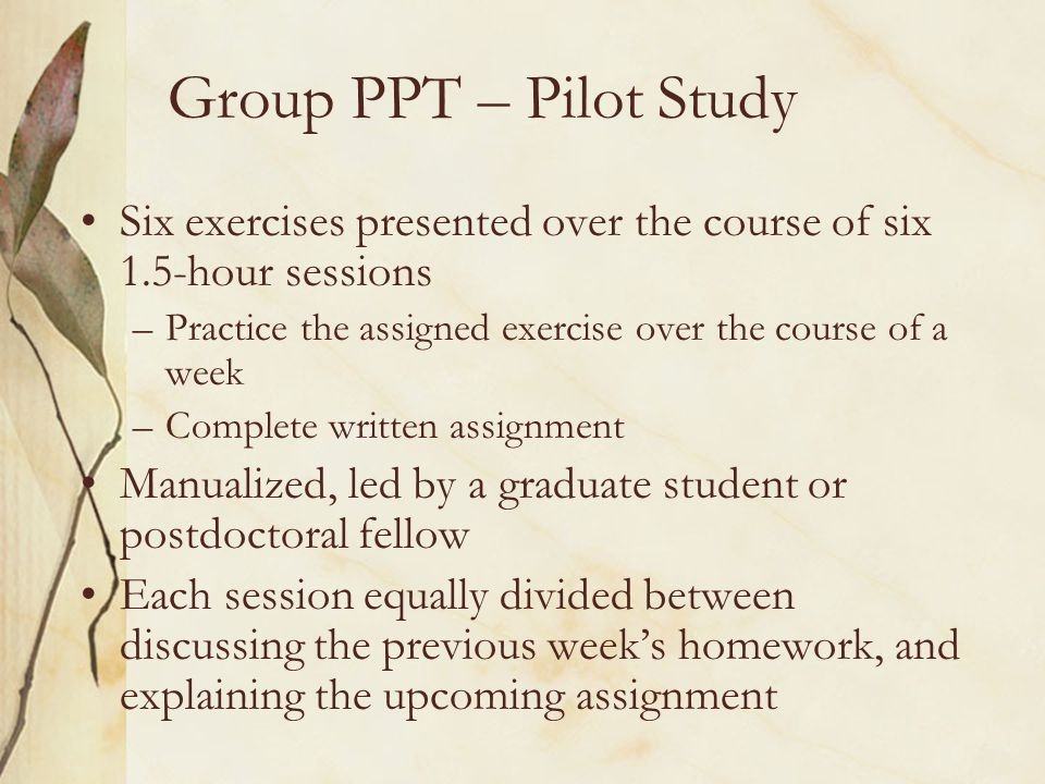 Group PPT – Pilot Study Six exercises presented over the course of six 1.5-hour sessions –Practice the assigned exercise over the course of a week –Co