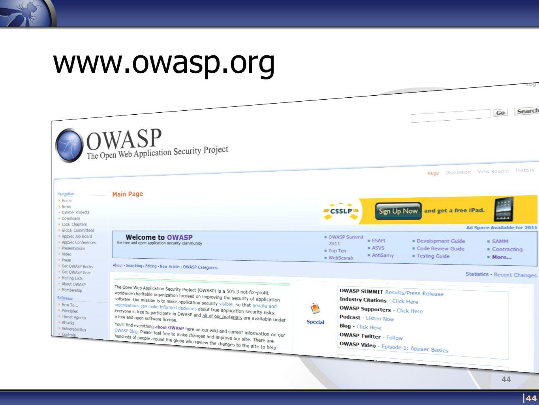 www.owasp.org | 44 44