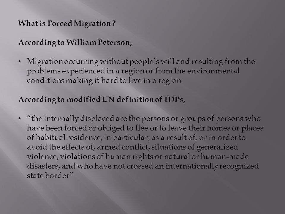 What is Forced Migration .