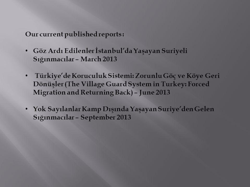 Our current published reports : Göz Ardı Edilenler İstanbul'da Yaşayan Suriyeli Sığınmacılar – March 2013 Türkiye'de Koruculuk Sistemi: Zorunlu Göç ve