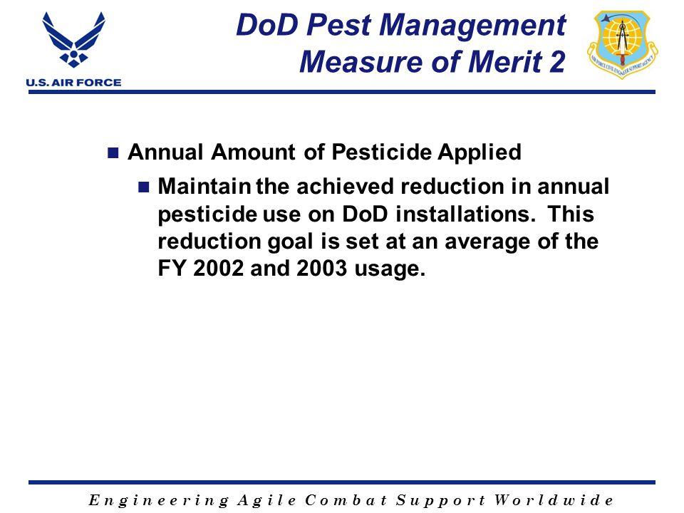 E n g i n e e r i n g A g i l e C o m b a t S u p p o r t W o r l d w i d e DoD Pest Management Measure of Merit 2 Annual Amount of Pesticide Applied