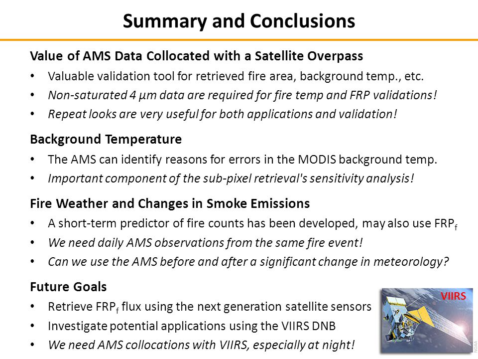 Value of AMS Data Collocated with a Satellite Overpass Valuable validation tool for retrieved fire area, background temp., etc.