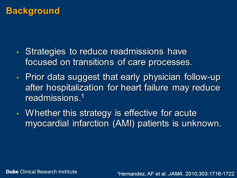 Objectives  To characterize hospital variation in early physician follow-up after discharge for non-ST- segment elevation myocardial infarction (NSTEMI)  To examine the relationship between rates of early physician follow-up and risk of readmission