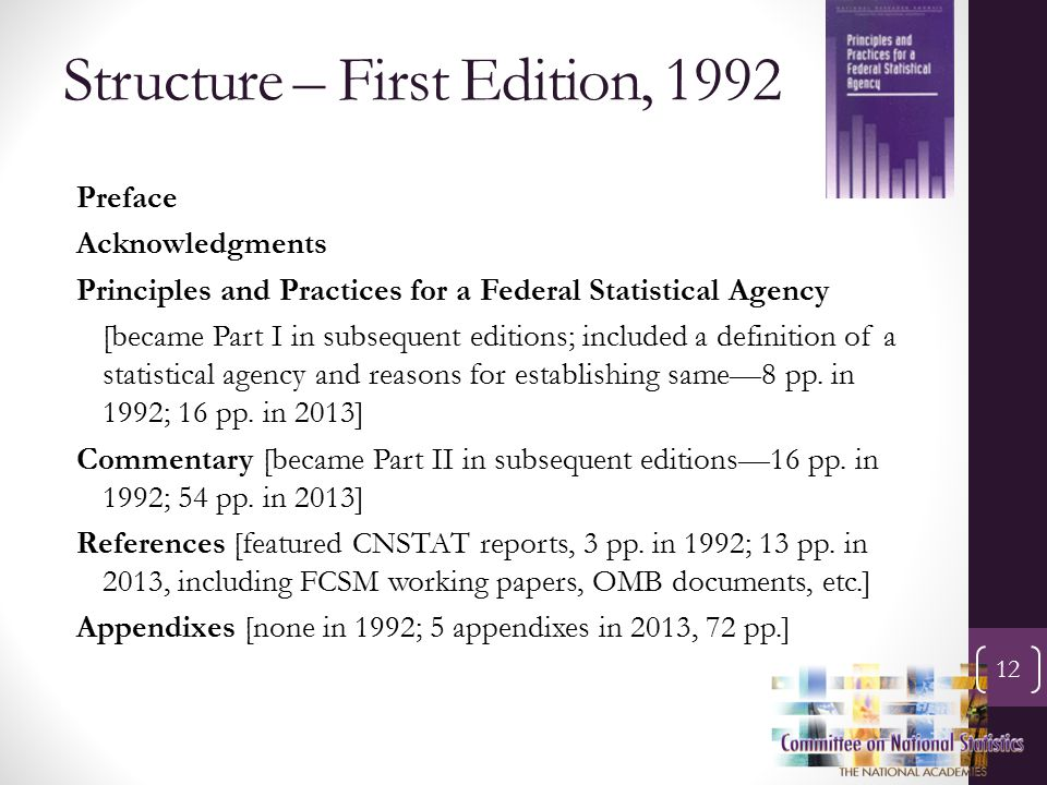 Structure – First Edition, 1992 12 Preface Acknowledgments Principles and Practices for a Federal Statistical Agency [became Part I in subsequent editions; included a definition of a statistical agency and reasons for establishing same—8 pp.