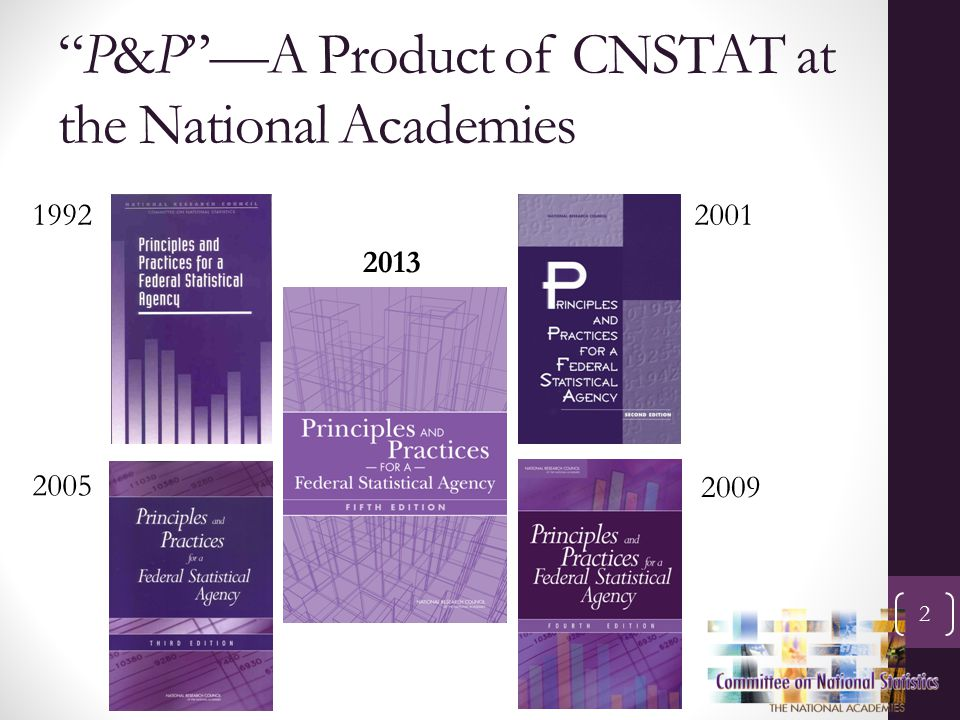 """P&P""—A Product of CNSTAT at the National Academies 2 19922001 2005 2013 2009"