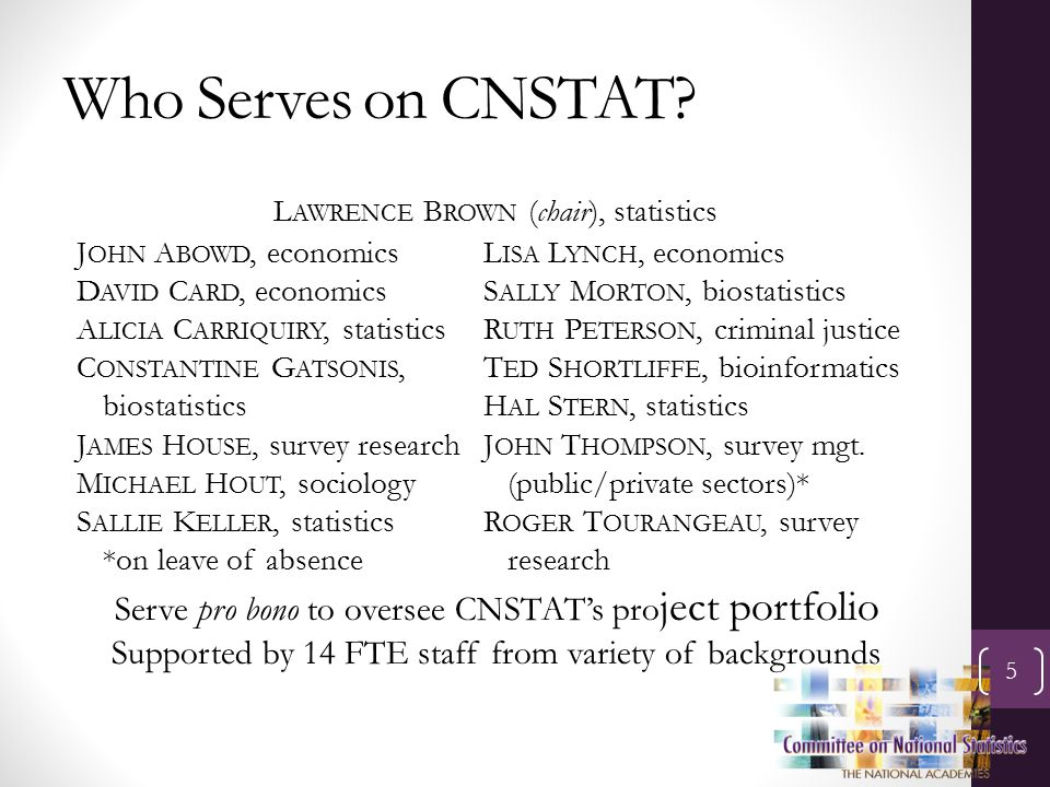 Who Serves on CNSTAT.