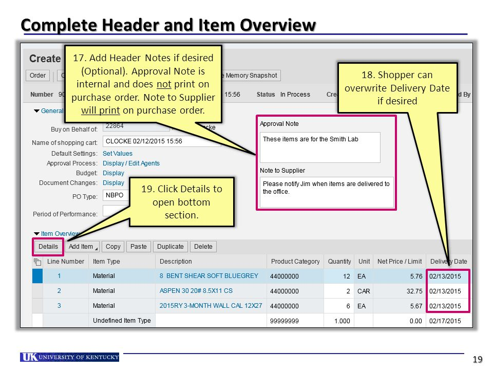 Complete Header and Item Overview 19. Click Details to open bottom section.