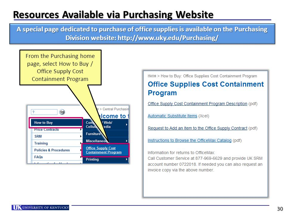 Resources Available via Purchasing Website 30 A special page dedicated to purchase of office supplies is available on the Purchasing Division website: http://www.uky.edu/Purchasing/ From the Purchasing home page, select How to Buy / Office Supply Cost Containment Program