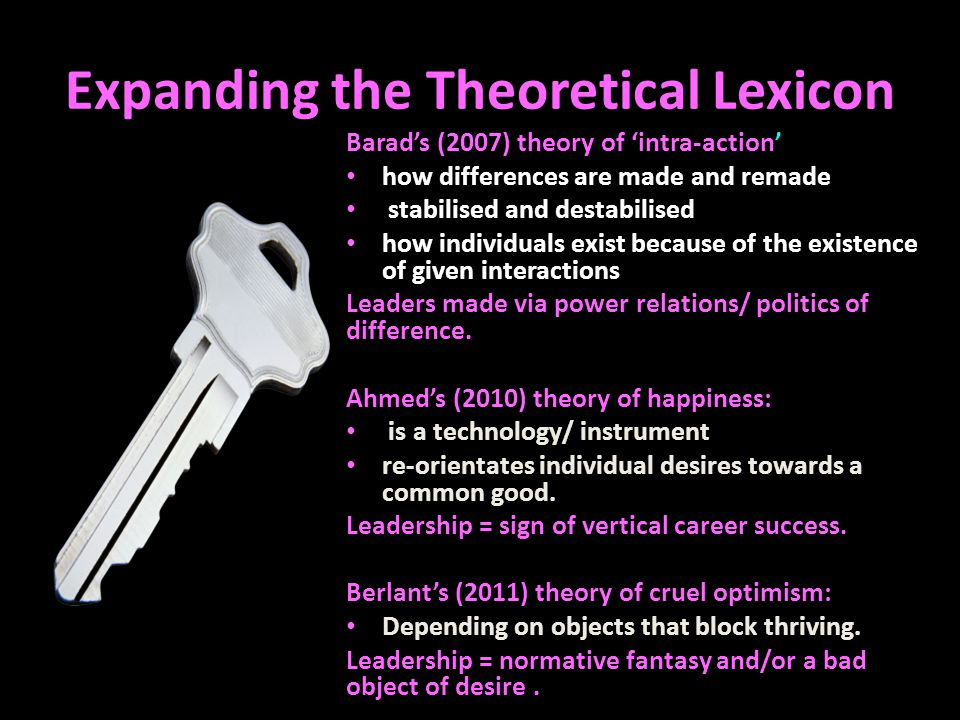 Expanding the Theoretical Lexicon Barad's (2007) theory of 'intra-action' how differences are made and remade stabilised and destabilised how individuals exist because of the existence of given interactions Leaders made via power relations/ politics of difference.