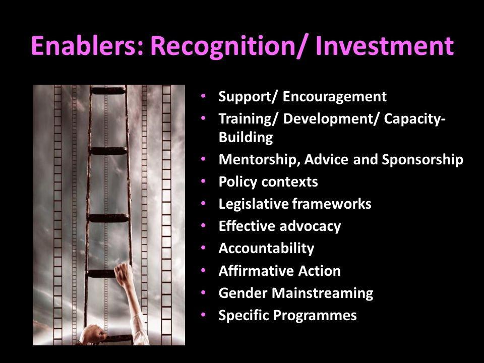 Enablers: Recognition/ Investment Support/ Encouragement Training/ Development/ Capacity- Building Mentorship, Advice and Sponsorship Policy contexts Legislative frameworks Effective advocacy Accountability Affirmative Action Gender Mainstreaming Specific Programmes