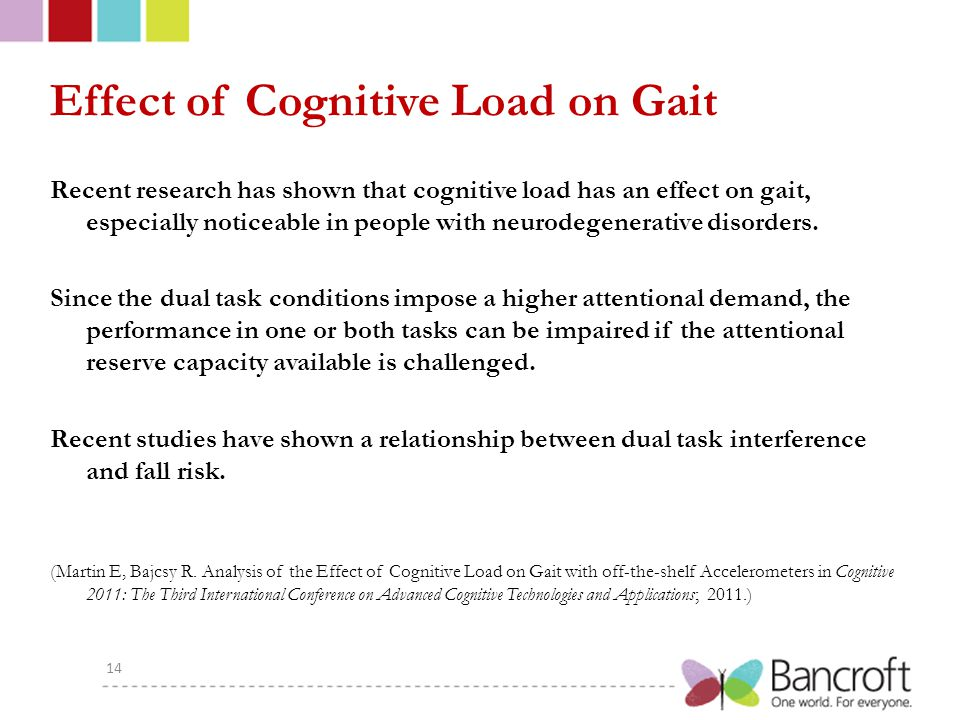 Effect of Cognitive Load on Gait Recent research has shown that cognitive load has an effect on gait, especially noticeable in people with neurodegenerative disorders.