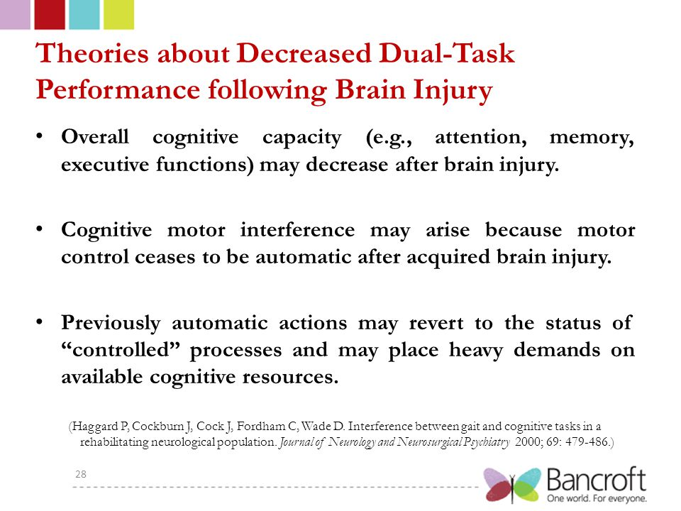 Theories about Decreased Dual-Task Performance following Brain Injury Overall cognitive capacity (e.g., attention, memory, executive functions) may decrease after brain injury.