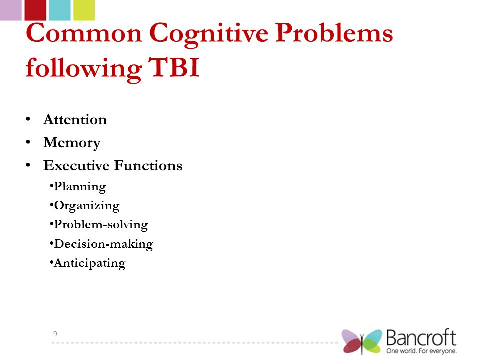 Attention Impairments of attention are common after TBI, and include reductions of processing speed, difficulty sustaining the focus of attention (e.g., maintaining concentration or a train of thought), and limitations in the ability to regulate the allocation of attention in complex situations (e.g., shifting attention to multiple speakers, or between several ongoing tasks).