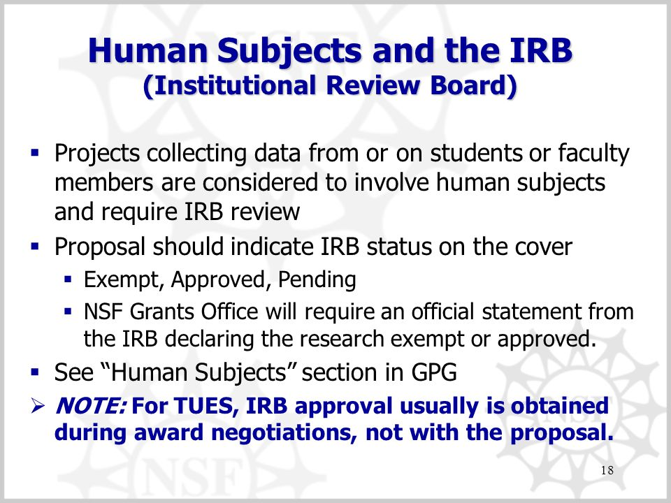 18 Human Subjects and the IRB (Institutional Review Board)  Projects collecting data from or on students or faculty members are considered to involve human subjects and require IRB review  Proposal should indicate IRB status on the cover  Exempt, Approved, Pending  NSF Grants Office will require an official statement from the IRB declaring the research exempt or approved.